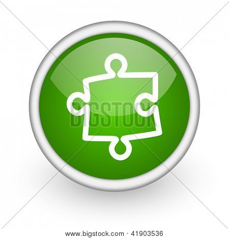 puzzle green circle glossy web icon on white background