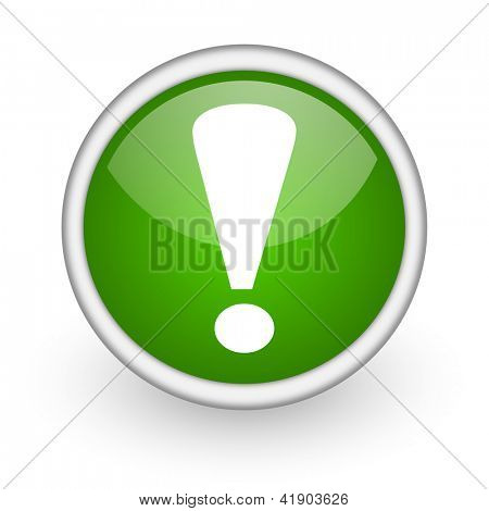 exclamation sign green circle glossy web icon on white background