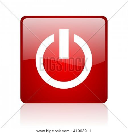 power red square glossy web icon on white background