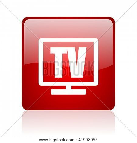 tv red square glossy web icon on white background