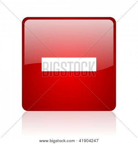 minus red square glossy web icon on white background
