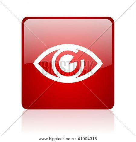 eye red square glossy web icon on white background