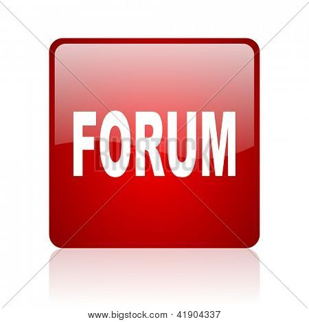 forum red square glossy web icon on white background