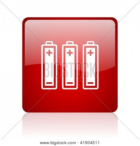 batteries red square glossy web icon on white background