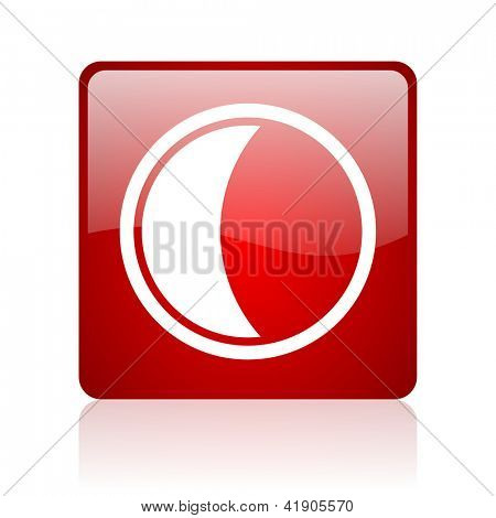 moon red square glossy web icon on white background