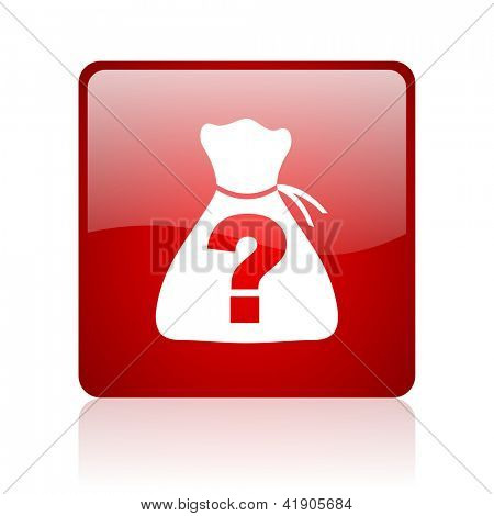 riddle red square glossy web icon on white background