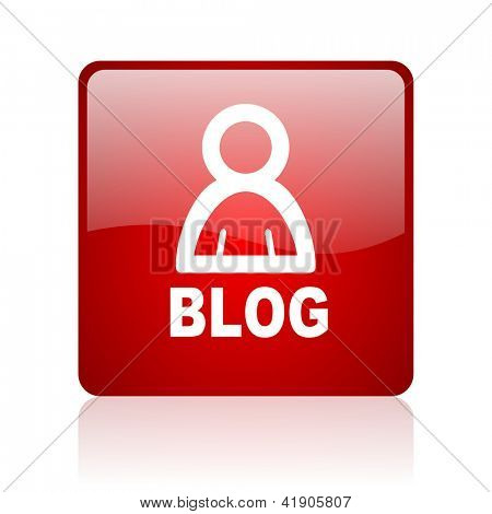 blog red square glossy web icon on white background