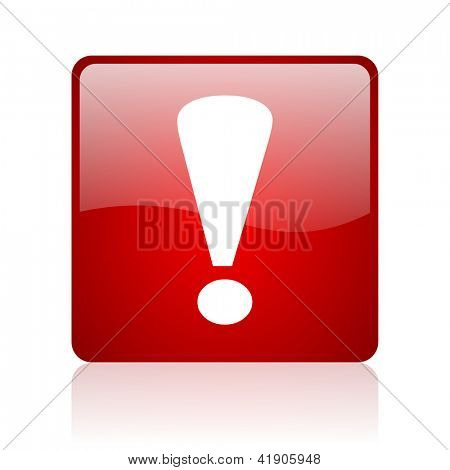 exclamation sign red square glossy web icon on white background