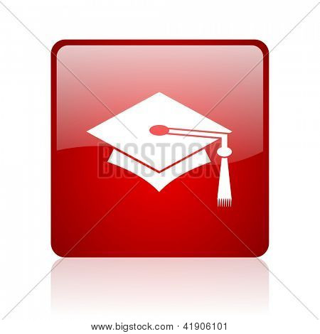 graduation red square glossy web icon on white background
