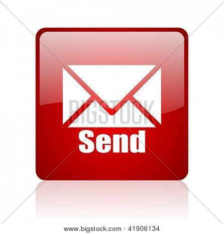 send red square glossy web icon on white background