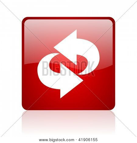 rotate red square glossy web icon on white background
