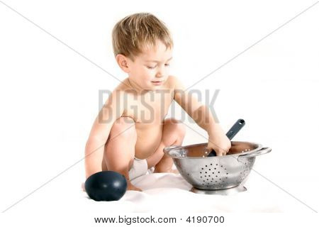 Cooking Toddler Over White