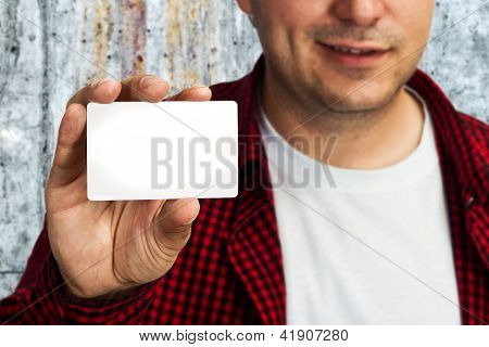 Construction Worker With Business Card