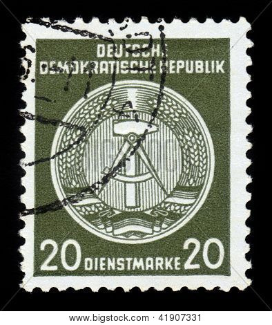 Coat Of Arms Of German Democratic Republic - East Germany,green