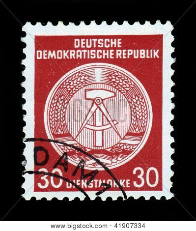 Coat Of Arms Of German Democratic Republic - East Germany,red
