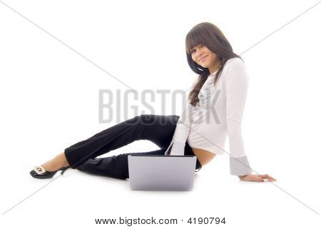 Young Businesswoman Or Student With Laptop, Isolated