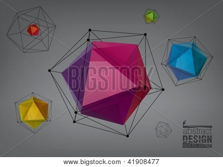 Geometric composition from transparent icosahedron for graphic design