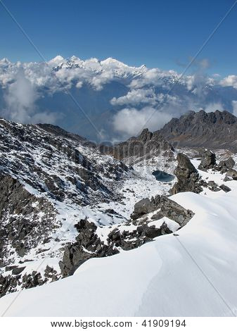 View From Surya Peak, High Mountain In The Himalayas