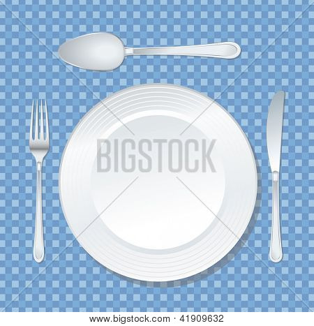 vector white plate on blue tablecloth with spoon, knife and fork