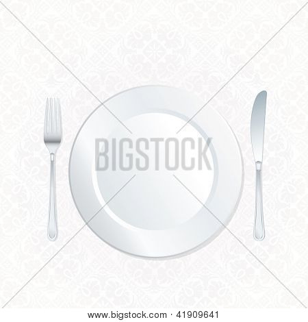 vector plate on ornate white damask tablecloth