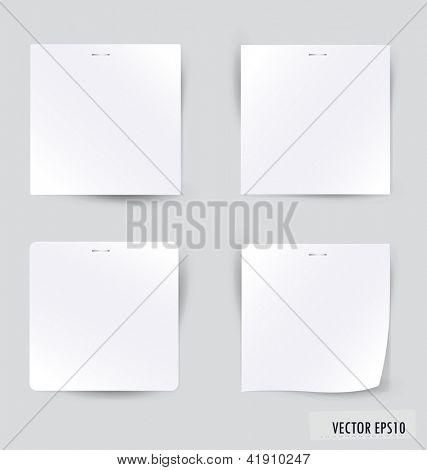 Coleção de vários trabalhos de nota branco, prontos para sua mensagem. Ilustração vetorial.