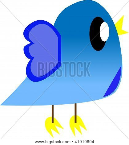 Cartoon Cute Bird   Isolated On White Background