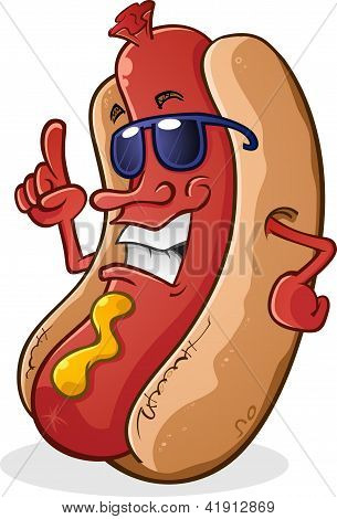 Hot Dog Cartoon Wearing Sunglasses