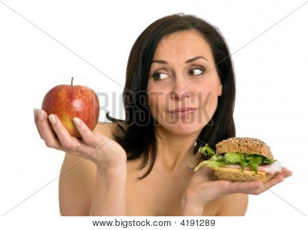 Woman With Burger And Apple