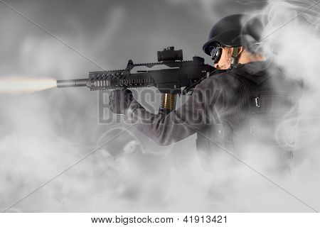 Street Assault, riot police firing his submachine gun, smoke