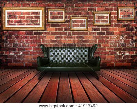 Sofá de cuero de lujo en Sala Vintage