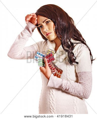 Young woman with headache take pills and tablets. Isolated.