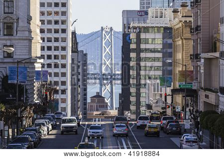 SAN FRANCISCO, CALIFORNIA - JAN 14: View of California Street tourist area. San Francisco's 80% hotel occupancy has pushed average room rates above $155 per night on Jan 14, 2013 in San Francisco, Ca.
