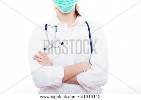 Lady Surgeon on white background