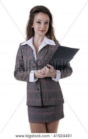 Beautiful And Confident Businesswoman With A Document Folder In Her Hands Isolated On White