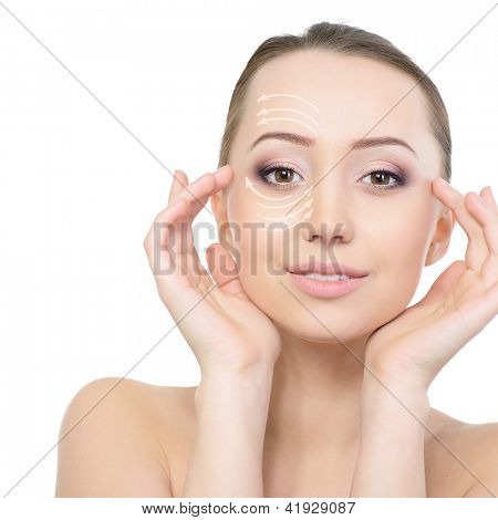 Beauty face of young beautiful woman and face-lift of plastic surgery, over white background