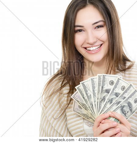 Cheerful attractive young lady holding cash and happy smiling over white background