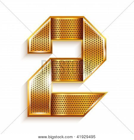 Number metal gold ribbon - 2 - two