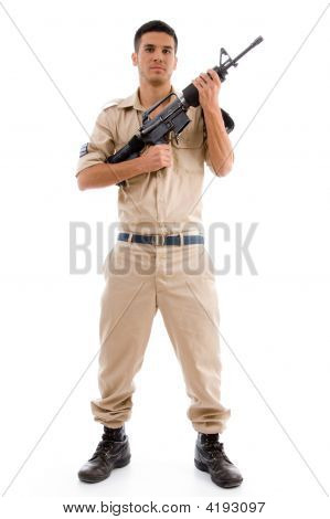 Standing Soldier Posing With Gun