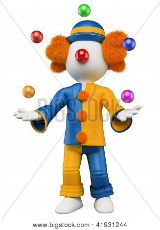 3D White People. Clown Juggler