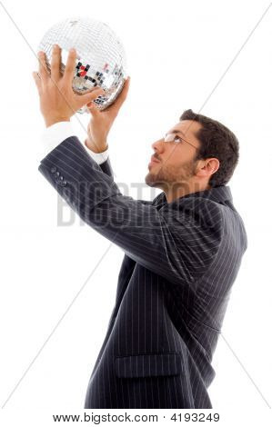Handsome Male Holding Disco Ball