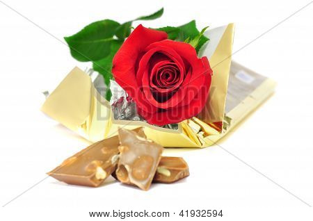 Red Rose Isolated On A White Background With Chocolate