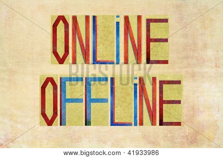 "Earthy background image and design element depicting the words ""Online Offline"""