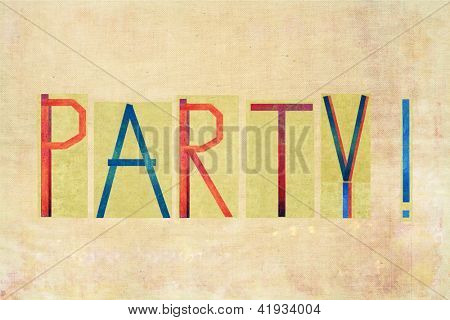 "Earthy background image and design element depicting the word ""Party"""