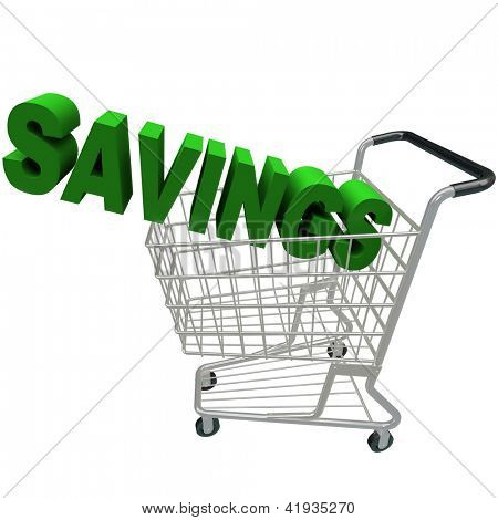 The word Savings in a metal shopping cart
