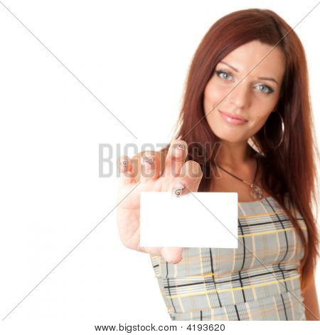 Woman Holds With Business Card