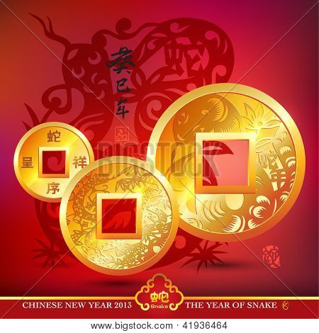 Chinese Copper Coins. Translation: Kimi Snake Year