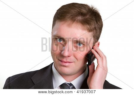 Closeup Portrait Of Casual Businessman Talking On Mobile Phone