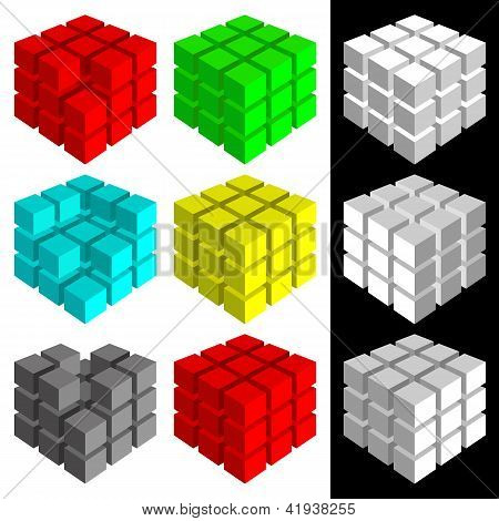 Set Of Multicolored Cubes