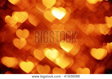 golden hearts bokeh background