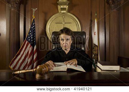 Retrato de juez principal libro de explotación en Tribunal